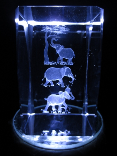 3D laserblok with 3 elephants and a tree