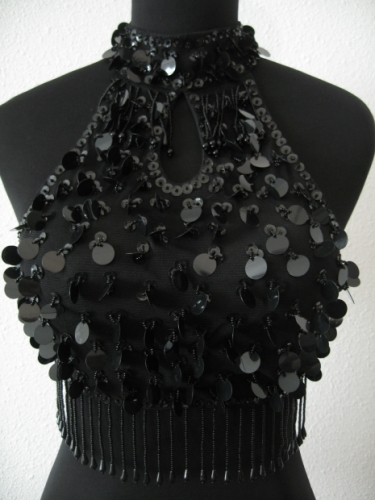 Top with pajettes (black)