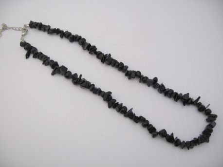 Thin Mineral Necklace Blue Goldstone