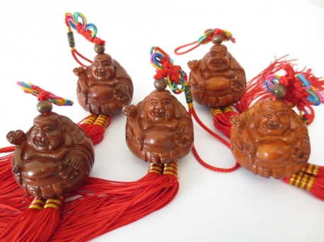 Buddha Lucky hanger Sitting brown set of 6