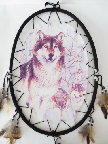 Oval Dreamcatcher Group Wolves