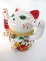 White lucky cat with fruit large