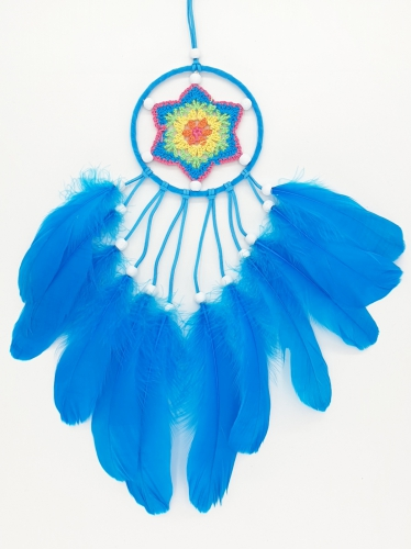 11 cm crochet dream catcher blue with goose feather