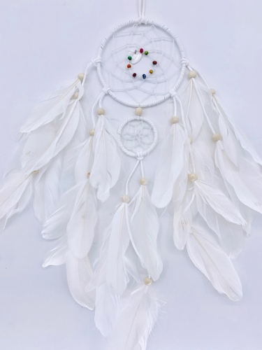 Wholesale Dreamcather - 11cm + 1 Round Dreamcatcher Goose feathers White