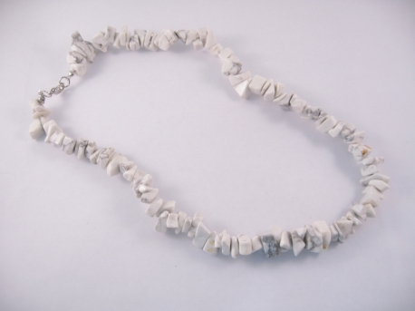 Gem stone necklace 45cm Howlite White