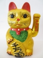 Lucky Cat glitter gold with moveable arm medium