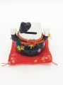 Wholesale - Lucky Cat Money box on pillow with 2 bells Black
