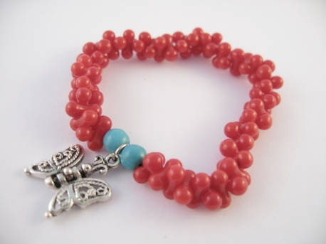 Red Coral bracelet butterfly