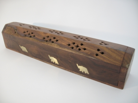 Incense box traditional wood elephant