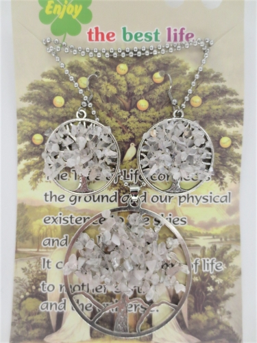 Tree of Life Necklace + earring set rock crystal