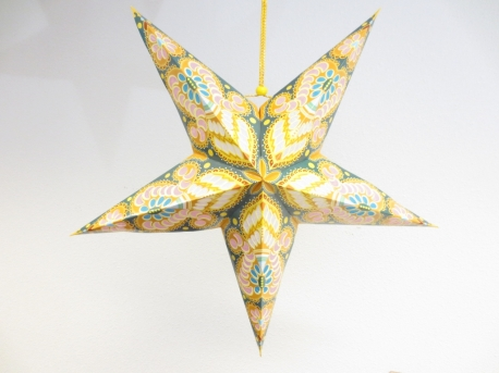 Star Lantern yellow with decoration