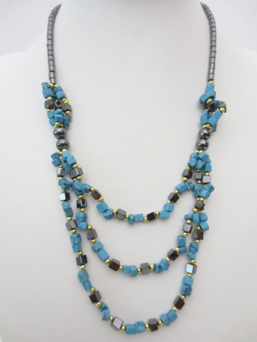 stone and haematite necklace Turquoise