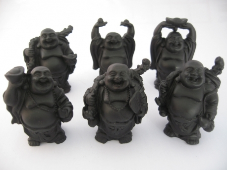 Wholesale - 8cm Buddha Set Black standing 6 pieces