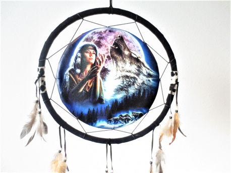 40cm Dreamcatcher Indian woman with wolf II