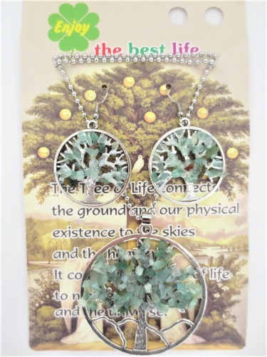 Tree of Life Necklace + earring set jade