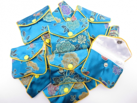 Chinese small pouches set of 12 turquoise