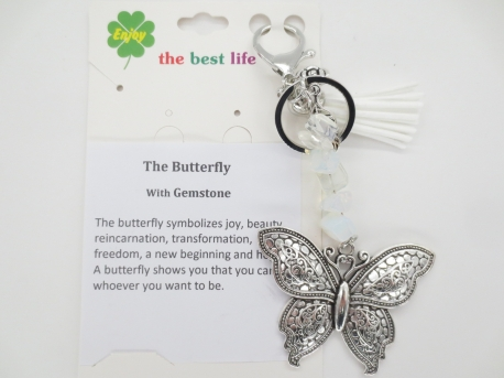 Silver butterfly with white key ring