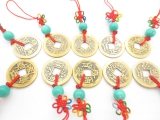 Qing Dynasty Lucky Coin Hanging Green set of 10