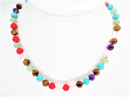 0,8cm stone beads necklace mixed