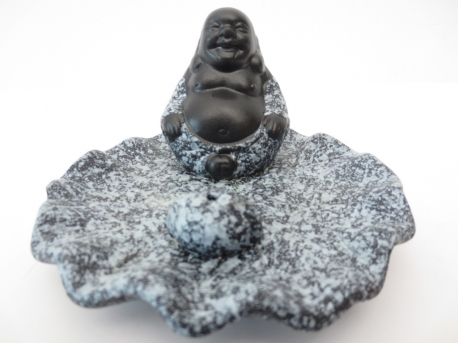 Happy Chinese Buddha incense holder grey