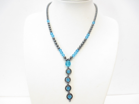 Hematite crystal necklace long blue