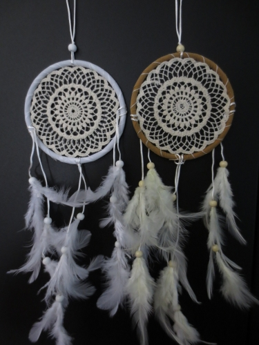 11cm round Dreamcatcher with goose feathers ( 6pcs)