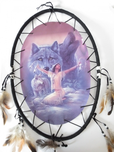Oval Dreamcatcher Meditating woman with wolves