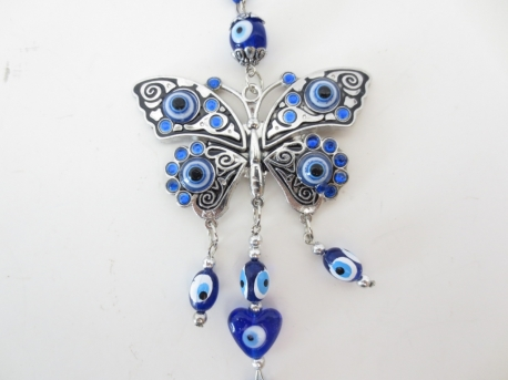 Blue evil eye hanger with butterfly set of 6