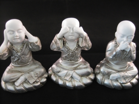 Wholesale - Mini hear, see, silence monk white/silver