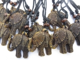 Polystone elephant necklace set of 12 brown