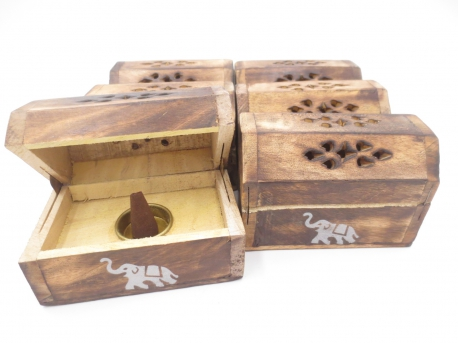 Wooden Incense Cone Box Antique Elephant (6 pcs)