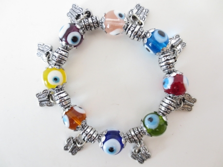 Mixed evil eye bracelets with butterflies set of 6