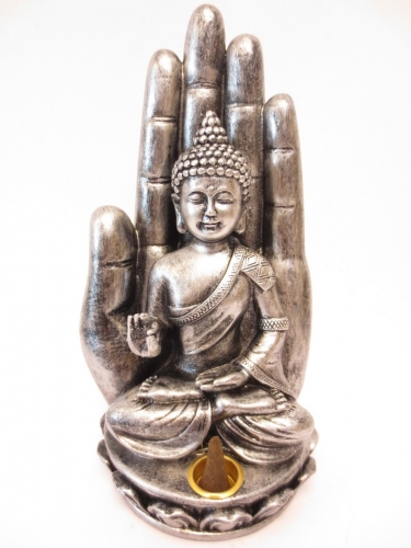 Incense holder silver Buddha with hand