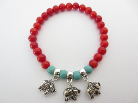 Red Coral Bracelet with 3 elephants pendants