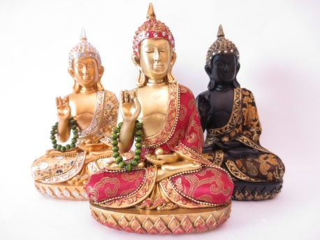 3 Thai Buddhas with necklace gold/black set