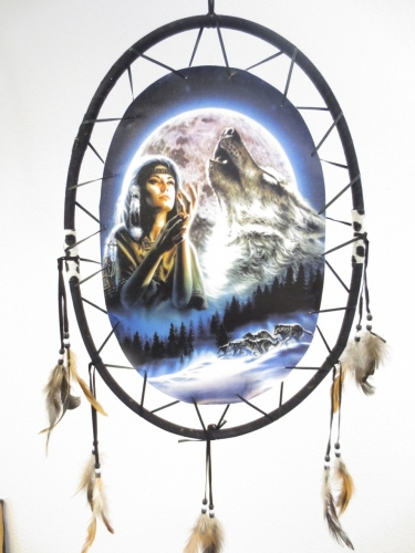Oval Dreamcatcher Indian woman with wolf