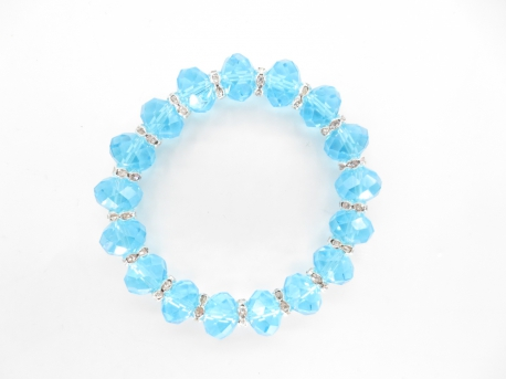Crystal bracelet with diamonds blue