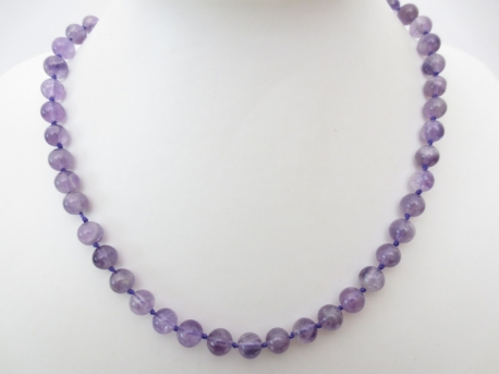 0,8cm stone beads necklace amethyst