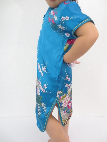 Girls Dress flowers turquoise
