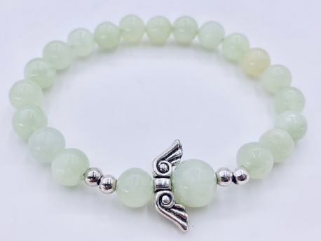 Wholesale Gemstone Bracelet - 8mm Green Jade Angels Bracelet
