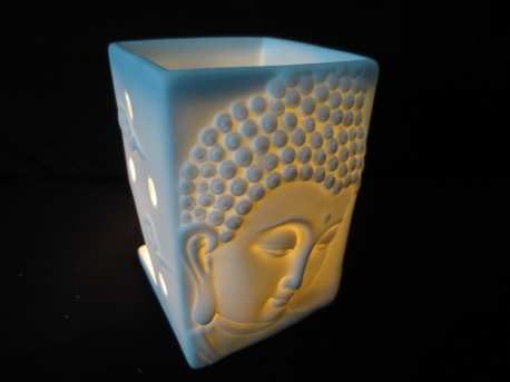 White meditation Buddhahead oilburner luxury