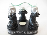 3 monk, hear, see,zilver/zwartbe silenct oil burner