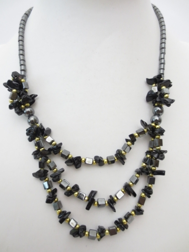 stone and haematite necklace Onyx
