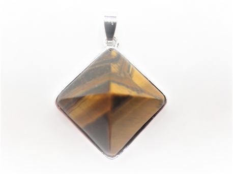 Gemstone Pyramid Pendant - Tiger Eye