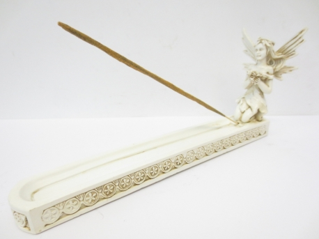 Incense holder fairy white with flower