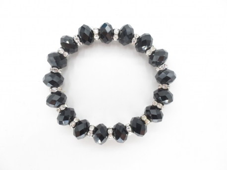 Crystal bracelet with diamonds black
