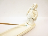 Incence holder standing laughing Buddha white