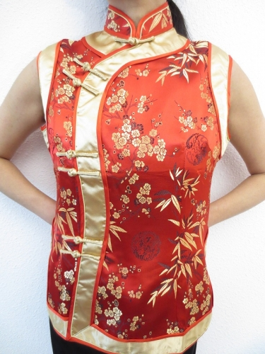 red with gold ladies tops