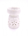 Wholesale - Oil burner white with Lotus and Flower motif