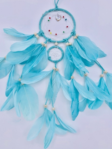 Wholesale Dreamcather - 11cm + 1 Round Dreamcatcher Goose feathers Baby Blue